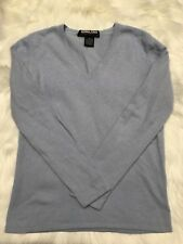 Kirkland Signature 100% Cashmere Long Sleeve Blue V Neck Sweater Size Small