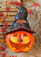 ❀ Großes Kürbis Windlicht m. Hexenhut 35cm! Halloween Kürbiskopf Groß Hut #377
