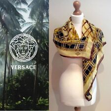 GIANNI VERSACE SILK SCARF GOLD BLACK YELLOW MADE IN ITALY