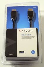 ADVENT 2M HDMI CABLE-CONNECT LAPTOPS, PCs, BLURAY TO TVs, MONITORS OR PROJECTORS