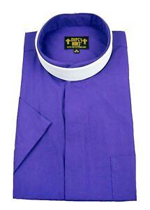 Men's Roman Purple Short Sleeve Full Collar Neckband Clergy Shirt w/Soft Collar
