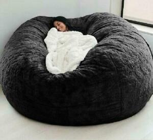 Microsuede 7ft Foam Giant Bean Bag Pouf Puff Couch Chair Lazy Sofa Soft Cover