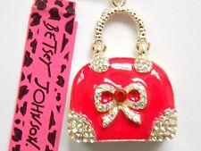 Betsey Johnson Rhinestone Crystal red handbag  Pendant Necklace #T124