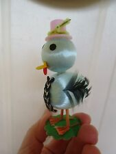 Vintage Satin Easter Chick Top Hat& Navy Blue Wings&Wire Legs&Flocked Base Decor