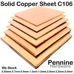 BRASS OR COPPER SHEET 0.55 to 3.0 mm Guillotine Cut Metal from UK Trade Supplier