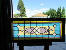 ~ ANTIQUE AMERICAN STAINED GLASS TRANSOM WINDOW 48 x 20 ~ ARCHITECTURAL SALVAGE