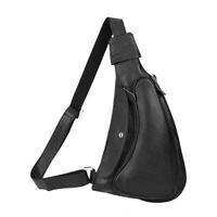 Black Men's Leather Sling Backpack Chest Bag Side Shoulder Bag Cross body Bag