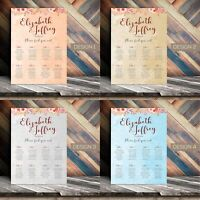Personalised Wedding Seating Plan Planner Table Plans Chart Layout | A1 A2 A3