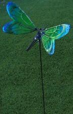 Garden Lawn Yard Decoration bird green Dragonfly glass & metal pick stake NEW 28