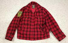 Vtg Woolrich Men's 1950s Buffalo Plaid Lined Wool Hunting Jacket Size 44 Patches