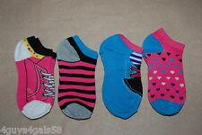 Girls Socks 4 Pair Lot Multi Color Stripes Tennis Shoes Fits Shoe Size 7-3 Heart