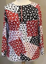 Susan Graver Weekend Stretch Knit Zip Henley Top Hearts Red Black White Sz 1X