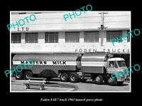 OLD LARGE HISTORIC PHOTO OF 1961 FODEN 8AE7 TRUCK LAUNCH PRESS PHOTO