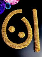 EXQUISITE CINER GOLD-TONE SERPENTINE CAVIAR BEADED COLLAR NECKLACE EARRINGS SET