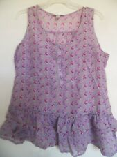 Dressbarn Top Womens Sz Medium Purple Floral  Cotton Silk Blend Top Tank Cami