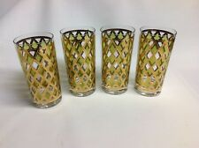 George Briard Highball Glasses Gold Lattice With Green panes (lot of 4)