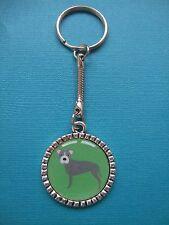 Staffy Keyring Dog Puppy Metal Handmade Bag Charm Stafford Bull Terrier Green