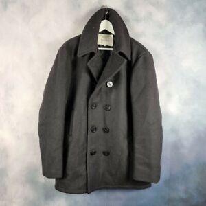 Vtg US NAVY Surplus Naval Wool Mariner Reefer PEA COAT Jacket Made in USA 44L