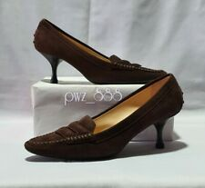 TODS Brown Suede Heels Shoes Size 36 1/2 Unused