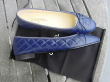 new authentic CHANEL blue CC flat ballerina shoes sz 40.5C +bag