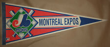 Vintage 80s Montreal Expos Single Stripe Crossed Bats 30x12 Pennant