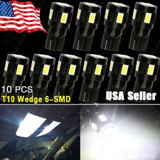 10X T10 White Car 5630 6-SMD Backup Reverse LED Light Bulb 906 168 159 657 W5W