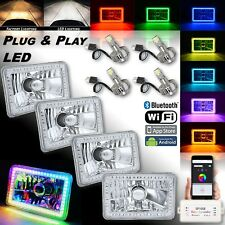 "4x6"" Bluetooth RGB SMD LED Color Chasing Halo Headlight 18/24w LED Lamp Bulb Set"