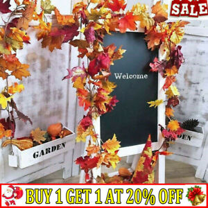 Artificial Autumn Fall Maple Leaves Garland Hanging Plant Halloween Home Decor-Q