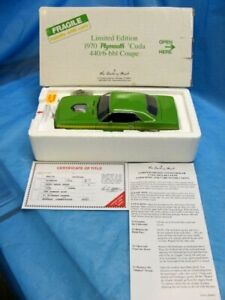 Danbury Mint 1970 LE Plymouth Cuda 440 / 6 bbl Sassy Grass Green MIB with Papers