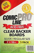 (5-Pack) Comic Pro Line 60pt Clear Comic Backer Boards - Silver / Regular Size