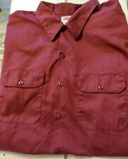 Men's Dickies® Button Down Short Sleeve Shirt Solid Maroon Size 3XL   NWOT