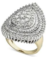 14k Yellow Gold Diamond Cluster Ring 3Ct Diamond Sterling Silver Cocktail Ring
