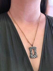 Black Diamond and White Enamel Zebra Pendant Necklace in 18k Rose Gold-HM1735SN