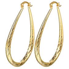Luxury Women Yellow Gold Plated Dangle Drop Hollow Hoop Earrings Wedding Jewelry