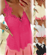 Womens Summer Casual Tank Lace Vest Top Sleeveless V Neck Sexy Blouse T Shirt