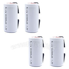 4 pcs SubC Sub C 2800mAh 1.2V NiCd Rechargeable Battery Cell with Tab White