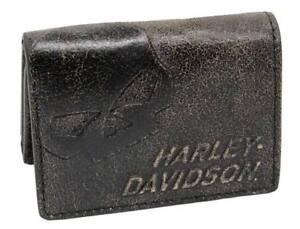 Harley-Davidson Men's Burnished Tri-Fold Skull Wallet Leather BM2647L-TanBlk