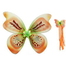 Brown Green Fairy Wing Wand Child Adult Girls Glitter Fancy Dress Party Costume