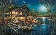 "Jim Hansel After Dark Cabin Boat Art print 28""W x 19""H Signed and Numbered"