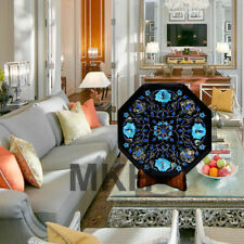 Marble Coffee Table Top Side Table Inlay Gems Stones Pietra Dura Vintage Wooden