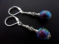 A PAIR OF SILVER PLATED PORCELAIN FLOWER  BEAD LEVERBACK HOOK EARRINGS. NEW.