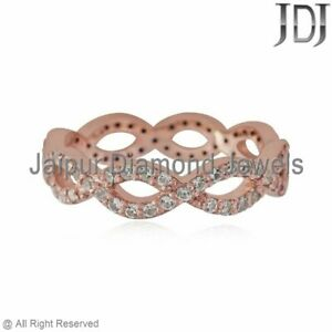 Natural White Sapphire Twisted Band Ring Solid 14k Rose Gold Valentine Jewelry