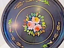 Vtg Metal Tole Flower Hand Painted Ransburg Metal Tray Serving  Plate