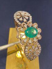 5.65 TCW Round Brilliant Cut Diamonds Emerald Bangle Bracelet In 585 14K Gold