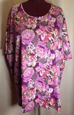 NWT- Catherine's 5X 34/36W Women's Plus Size Top Purple Career Blouse Floral I26