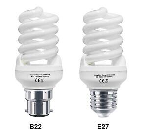 2 x Energy Saving 20W Spiral Light Bulb CFL B22 E27 20W = 100W Warm or Cool