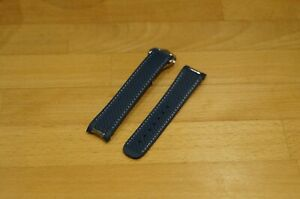 20mm SILICONE RUBBER STRAP&CLASP BLUE WITH WHITE STITCH for OMEGA AquaTerra
