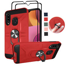For Samsung Galaxy A20S Hybrid Defense Kickstand TPU Case Cover+Screen Protector