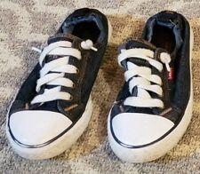 Levi's Kids Dark Denim Youth Stretch Tennis Shoes Logo Size 3 White Bottoms