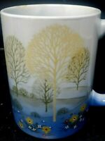 Otagiri Japan Ceramic Coffee Tea Mug Embossed Trees and Flowers Design Blue